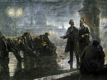 "Reproduction of ""Before the Sunrise"" (Karl Marx and Friedrich Engels walking in night London) painting by artist Mikhail Dzhanashvili. The Karl Marx and Friedrich Engels Museum."